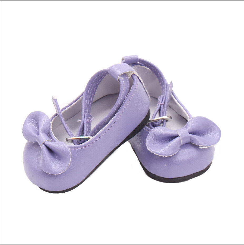 US Stock Doll Clothes Dress Outfits Pajames For 18 inch Xmas Gift Dress Shoes I. Purple Single shoe