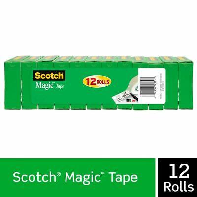 Scotch Magic Tape Pack Of 12 Clear Rolls 34 X 1000 Inches 1 Core 810k12