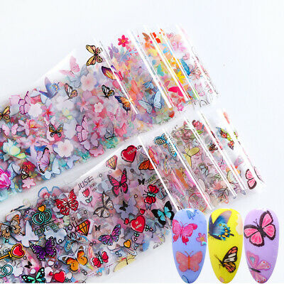 10 Pcs 20X4 cm Flower Butterfly Nail Foil Sticker Transfer Colors Manicure DIY