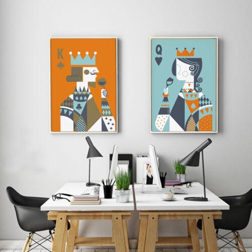 2+Piece+Wall+Decor+Prints+-+Poker+King+Queen+Digital+Canvas+Art+%28Unframed%29