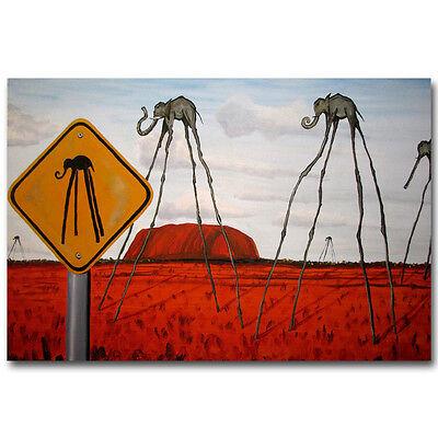 Elephant Salvador Dali Abstract Art Silk Poster 12x18 24x36 inch