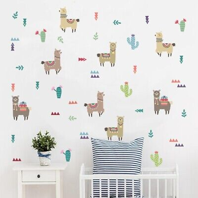 Writing On The Wall Home Decor Cartoon Decals Alpacas Llama Indian Animal Wall Art Sticker Kids Bedroom Decor