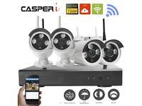 CASPERi 4CH Wireless Wifi CCTV DVR NVR 720P IP Camera Security System Kit UK