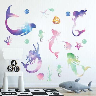 Mermaid Girls Wall Stickers Nursery Decor Kids Vinyl Decal Art Mural For Gift - Mermaid Gifts For Kids