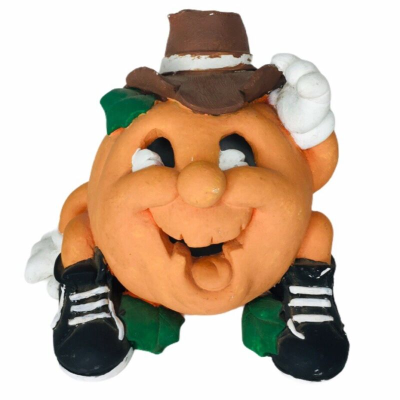 UNIQUE Primitive Folk Art Halloween Jack o Latern wearing Hat Shoes Gloves 1992