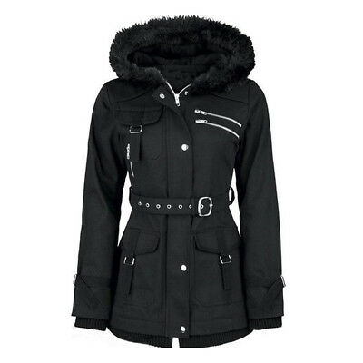 Women Warm Gothic Coat Black Winter Hooded Zipper Belt Vintage Jacket Velvet New