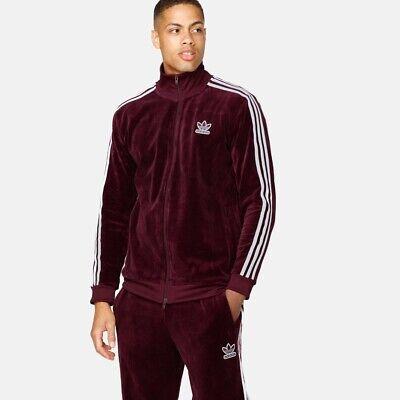SMALL Adidas Originals Mens Velor Velvet BB Track Jacket In Maroon DH5789