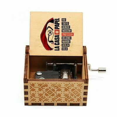 "Money Heist ""Bella Ciao"" Mini Wooden Music Box Hand Crank Gift *SEE VIDEO*"