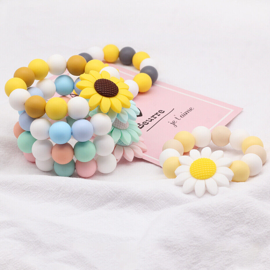 Roundel Silicone Beads Baby Teething Bracelet Chewable Teether Jewelry Making