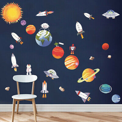 9 Planet Outer Space Wall Sticker Kids Bedroom Mural Decals Solar System (Outer Space Wall Mural)