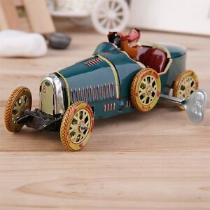 Vintage Metal Tin Sports Car with Driver Clockwork Wind Up Toy Collectible OK