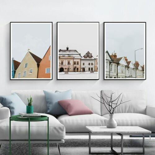 Buildings+Scandinavian+Wall+Art+Decor+Painting+3+Piece+Canvas+Prints+%28UNFRAMED%29