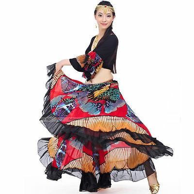 Belly Dance Costume Gypsy Style (Flared Top, Big Multicolor Skirt) 2 Colors