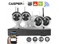 4CH Wireless Wifi Kit NVR Video Recorder 1080P 2MP CCTV Outdoor IP Cameras