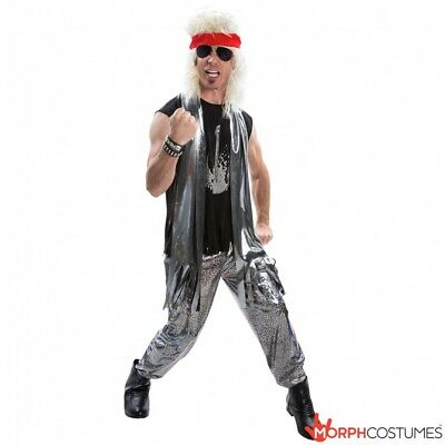 Mens Glam Rock 1970s 1980s Fancy Dress Costume L XL 70s 80s Rocker Rockstar Star - Glam Costumes