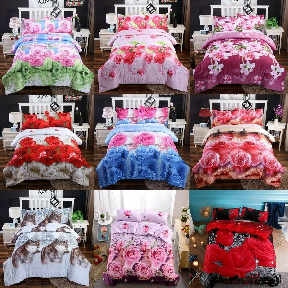 3D Summer Quilts Air Coverlets Comforter bed Cover Rose Lily