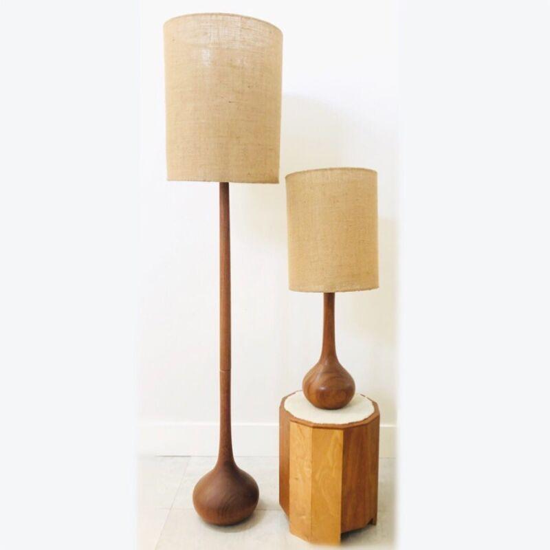 Vintage Mid Century Danish Modern Teak Teardrop Floor Table Lamp