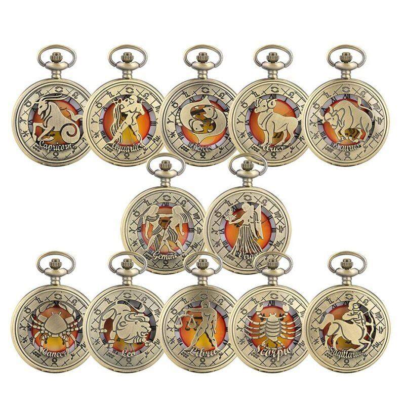 Antique Twelve Constellations Pocket Watch Roman Numerals Display Watch Gifts