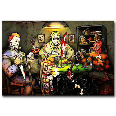 Michael Myers vs Jason Voorhees Silk Poster 13x18 inch SLASHERS Horror Movie - Michael Myers Vs Jason Voorhees