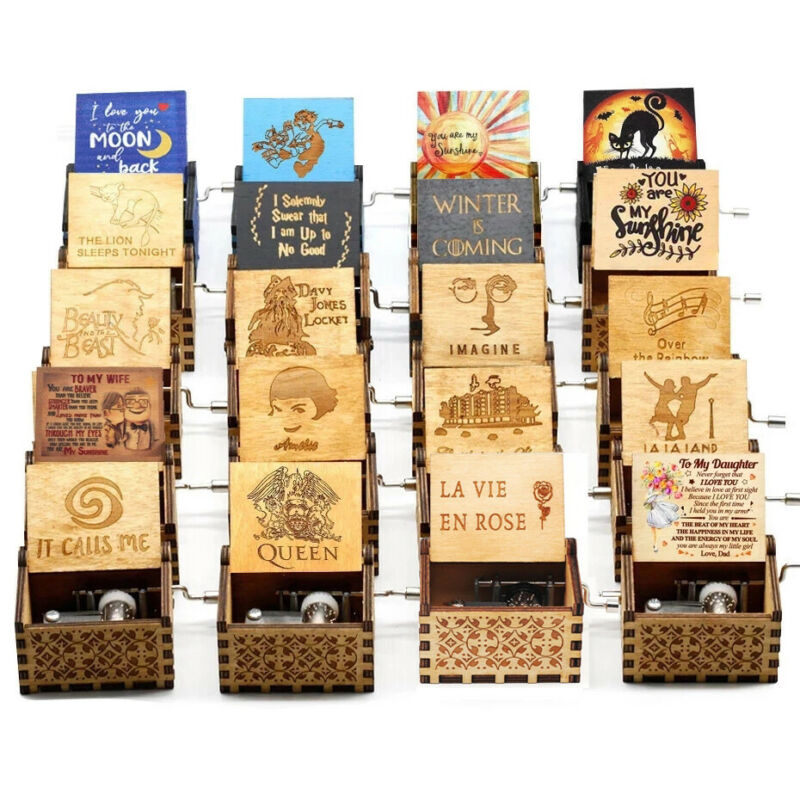 Birthday Gifts Harry Potter Music Box Engraved hand crank wooden Music Box US