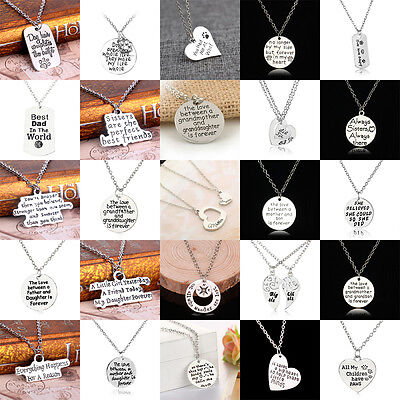 Dog Tag Paw Mother Dad Sister Sis Heart Family Crystal Love Pendant Necklace BFF Crystal Dog Tag Necklace