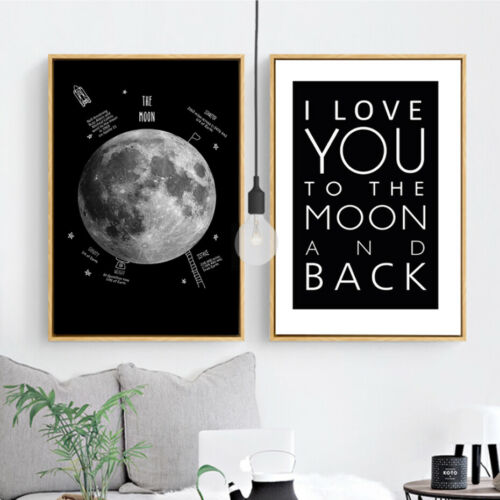 2+Piece+Canvas+Prints+-+The+Moon+Black+and+White+Digital+Art+Home+Decor+Unframed