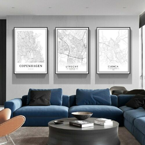 3+Piece+Canvas+Prints+-+Black+and+White+City+Map+Wall+Art+Home+Decor+%28UNFRAMED%29