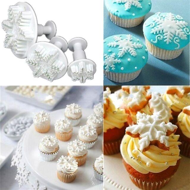 3pcs Snowflake Fondant Cake Decorating Sugarcraft Cutter Plunger Mold Mould X3