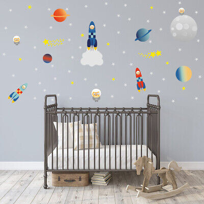 Outer Space Wall Stickers Rockets Planets Universe Kids Room Wall Mural (Outer Space Wall Mural)