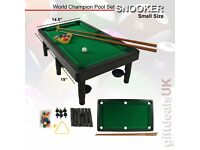 KIDS CHILDREN SPORT SNOOKER POOL TABLETOP GAME TOY SET BALLS CUES LARGE & SMALL