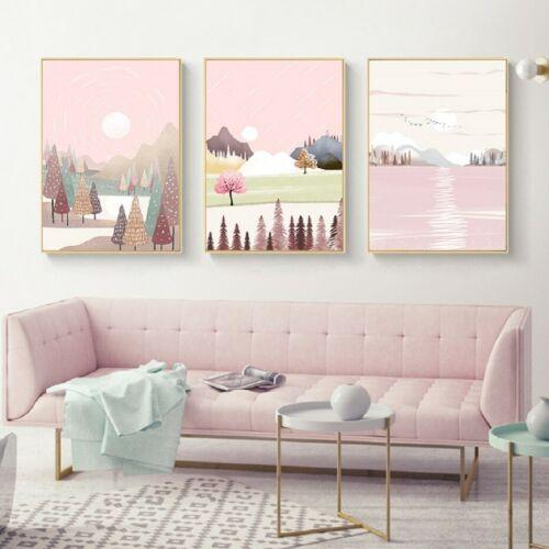 3+Piece+Canvas+Prints+-+Beautiful+Pink+Landscape+Wall+Art+Home+Decor+%28UNFRAMED%29