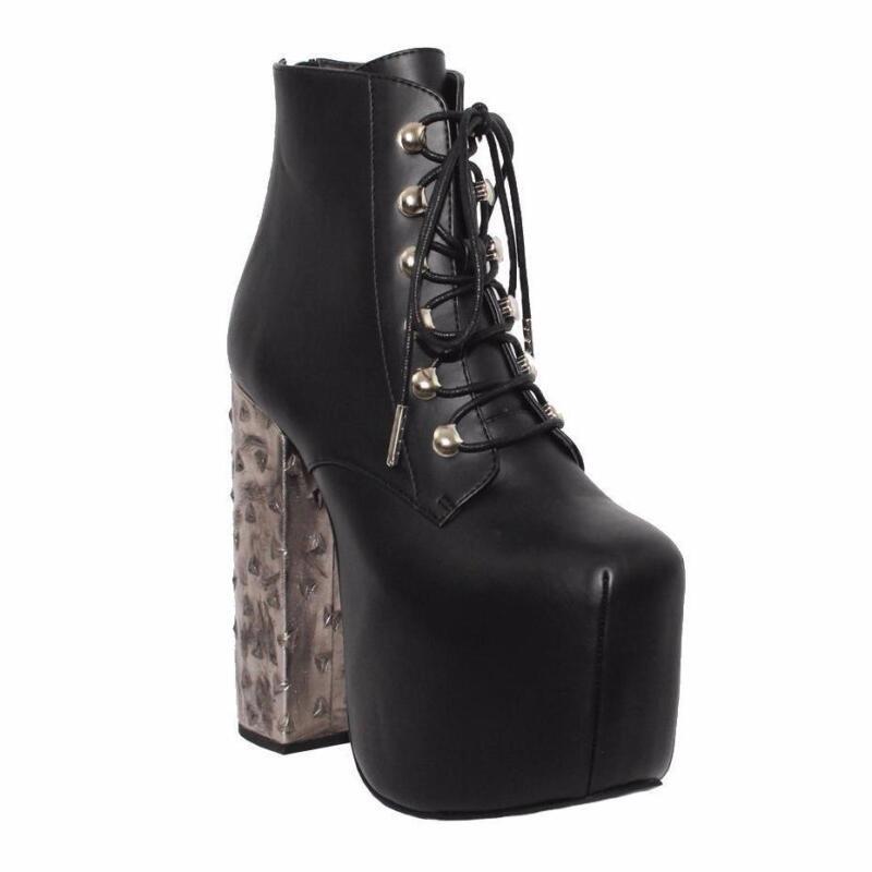 Charla Tedrick Black Platform Motley Metal Heel Boots