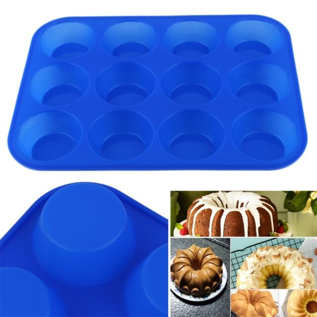 12-Cavity Muffin Cup Silicone Cookies Cupcake Bakeware Pan Soap Tray Mould OK