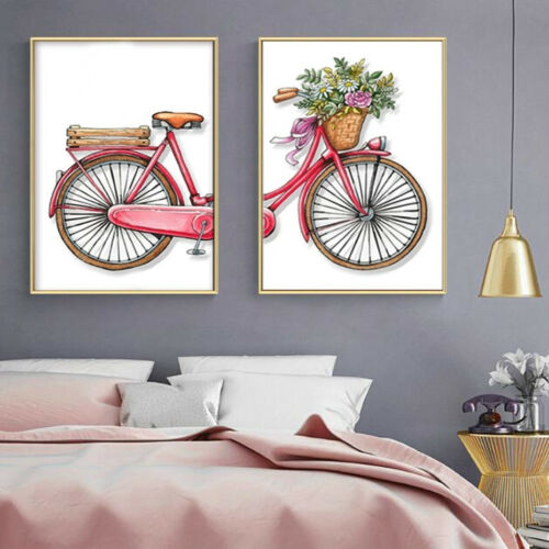 2+Piece+Wall+Prints+-+Romantic+Bicycle+Flowers+Contemporary+Canvas+Art+Unframed