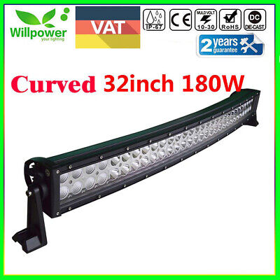 Curved 32inch 180W LED Work Light Bar COMBO Offroad SUV ATV Truck Driving Lamp