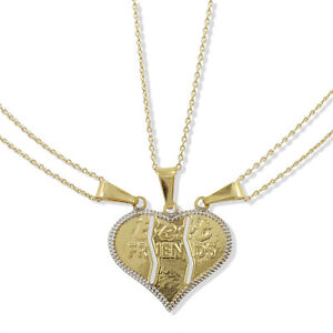 Gold Filled 18k HEART LOVE Best Friends Pendant Charm & Chain Necklace Two Tone