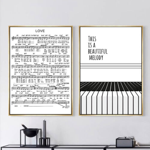 2+Piece+Wall+Decor+Prints+-+Black+and+White+Melody+Piano+Canvas+Art+Unframed