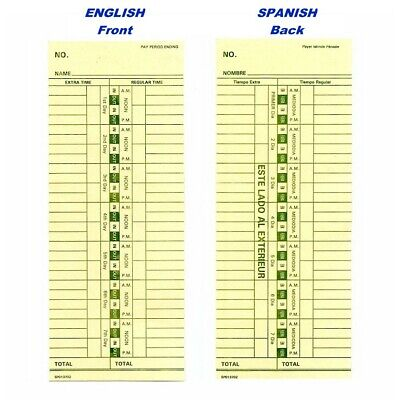 200 Count- Time Cards For The Royal Tc100 Form 013702sp Englishspanish