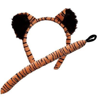 Damen Kinder Kostüm Tiger Satz Ohren auf Reif & Schwanz Tier Satz Neu - Tiger Ohren Schwanz Kostüm