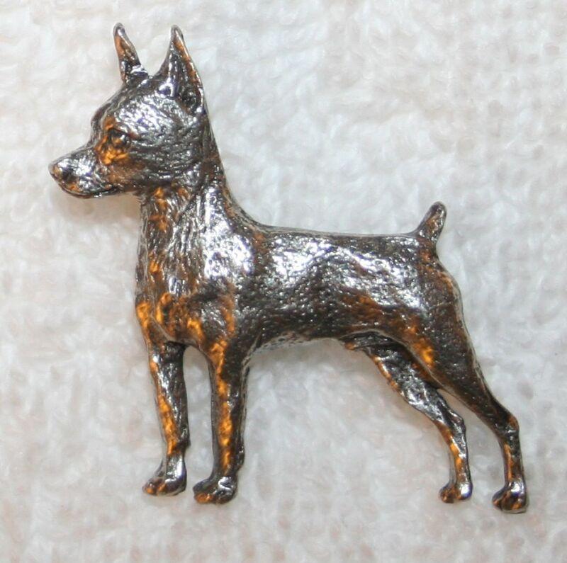 Miniature Pinscher Min Pin Dog Fine PEWTER PIN Jewelry Art USA Made