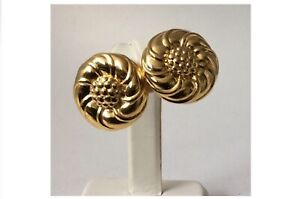UNIQUE VINTAGE CLIP-ON EARRINGS SIGNED NINA RICCI GOLD PLATED