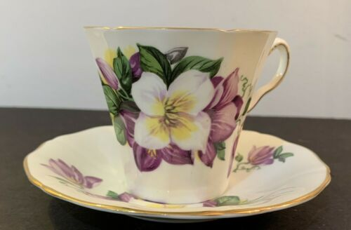 Vintage ADDERLEY Fine Bone China Purple Floral Tea Cup and Saucer England