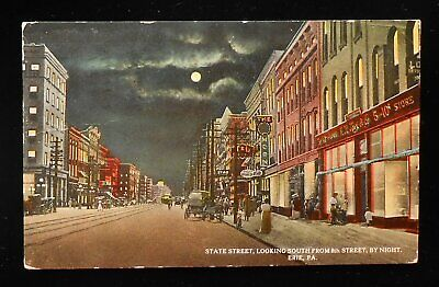 1913 State Street looking South from 8th Street by Night Old Stores Sign Erie (Erie Pa Stores)