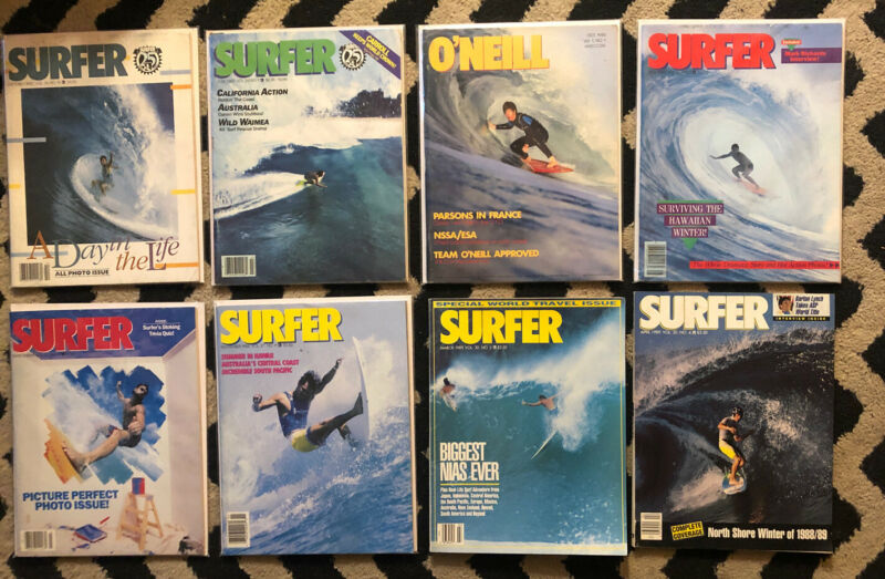 VINTAGE SURFER  MAGAZINE 1985 86 89 LOT OF 8  ISSUES SURFER LONGBOARDING  HAWAII