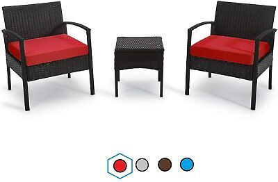 Garden Furniture - Chair 3 Set Furniture Outdoor Patio Garden Rattan Table Chairs Wicker Pool Deck