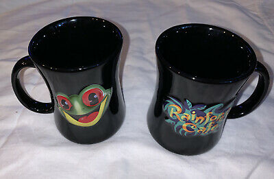 2 Rainforest Cafe Black Coffee Mug Cup with Cha Cha the Red Eye Tree Frog Mascot
