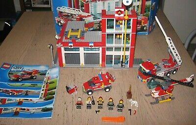 LEGO City-Stazione Pompieri 60004 + Squadra di Emerg. Anti-Incendio 60003- Usato