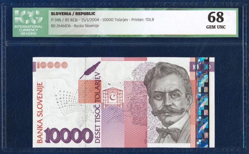 SLOVENIA 10.000 10000 TOLARJEV TOLAR PICK 34b 2004 ICG 68 GEM UNC