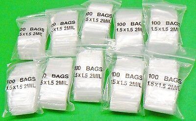 1-12 Zip Seal Lock Bags Reclosable Poly 2mil Square Baggies 1.5 X 1.5 1000