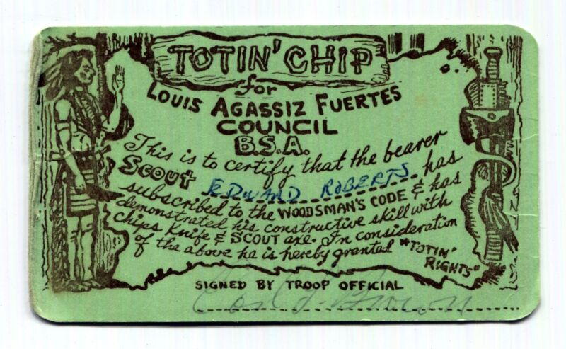 BSA Louis Agassiz Fuertes Council TOTIN CHIP Rights Card Baden-Powell New York🔪
